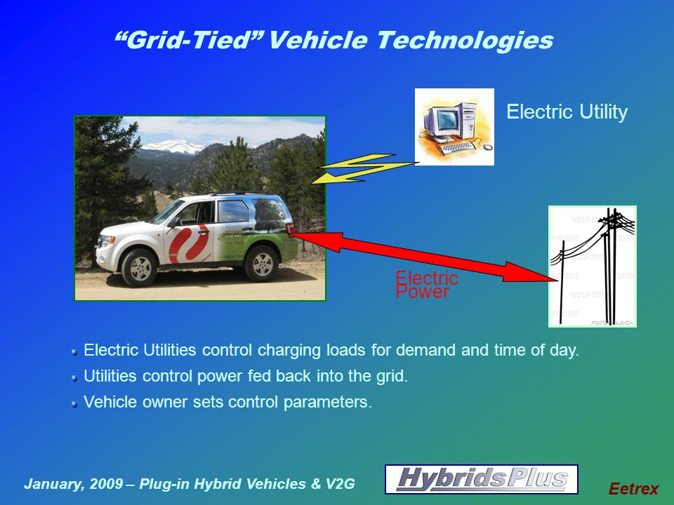 January, 2009 – Plug-in Hybrid Vehicles & V2G Eetrex Grid-Tied Vehicle Technologies Electric Utilities control charging loads for demand and time of day.