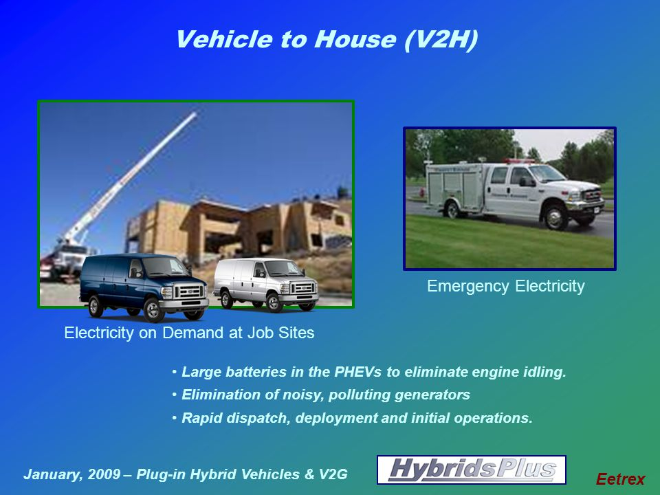January, 2009 – Plug-in Hybrid Vehicles & V2G Eetrex Vehicle to House (V2H) Electricity on Demand at Job Sites Large batteries in the PHEVs to eliminate engine idling.