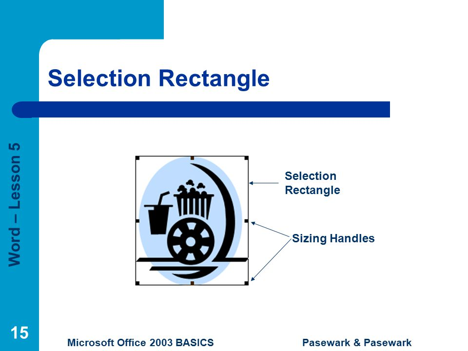 Word – Lesson 5 Microsoft Office 2003 BASICS Pasewark & Pasewark 15 Selection Rectangle Sizing Handles