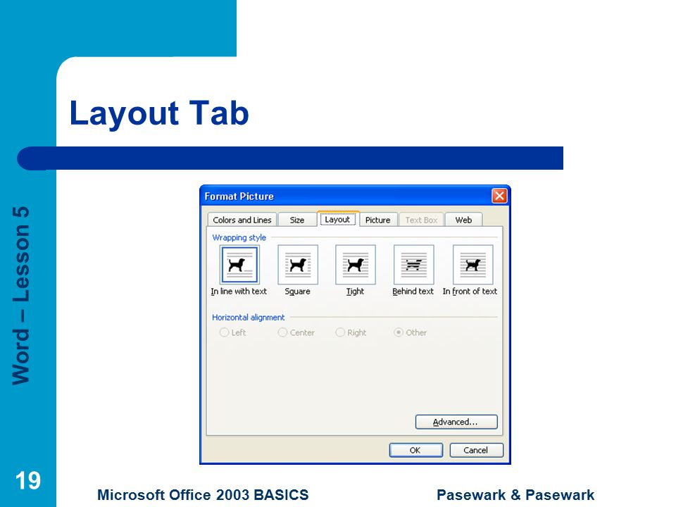 Word – Lesson 5 Microsoft Office 2003 BASICS Pasewark & Pasewark 19 Layout Tab