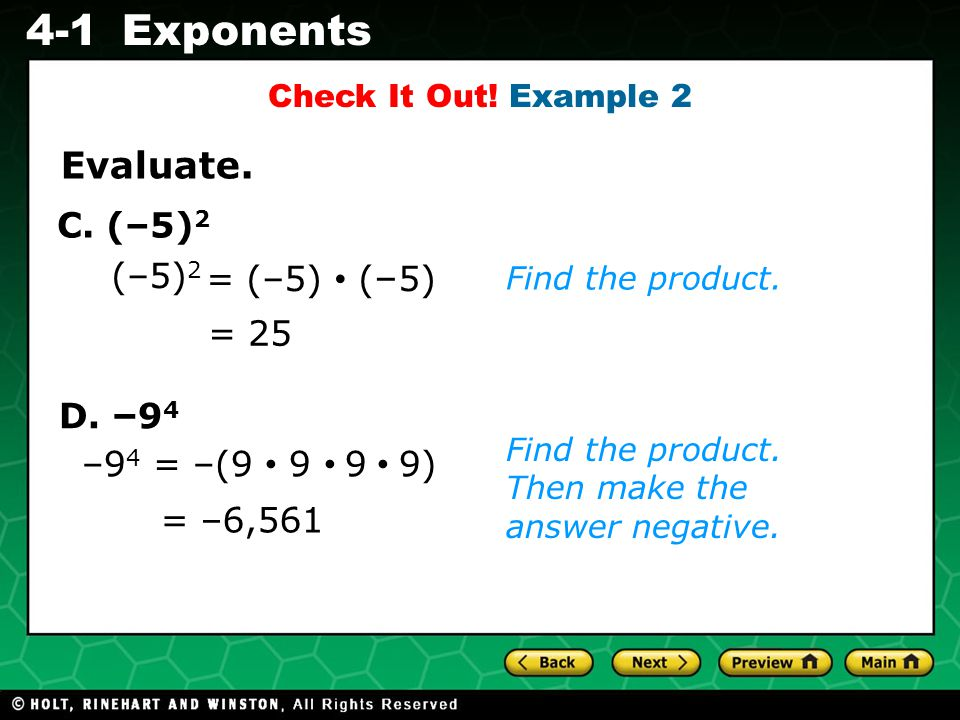 Evaluating Algebraic Expressions 4-1Exponents D.