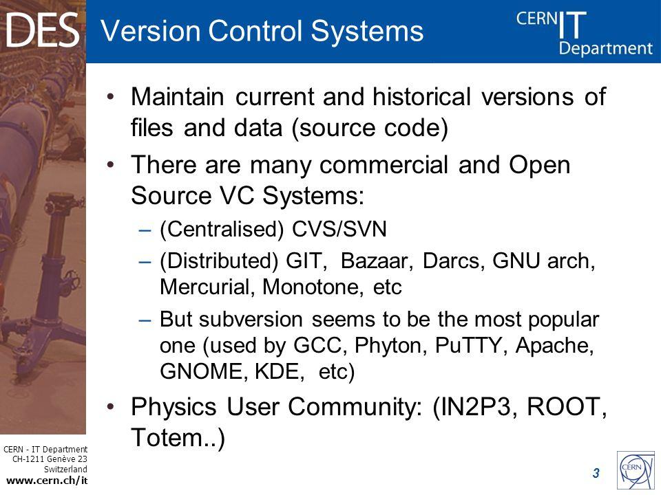 CERN - IT Department CH-1211 Genève 23 Switzerland t SVN