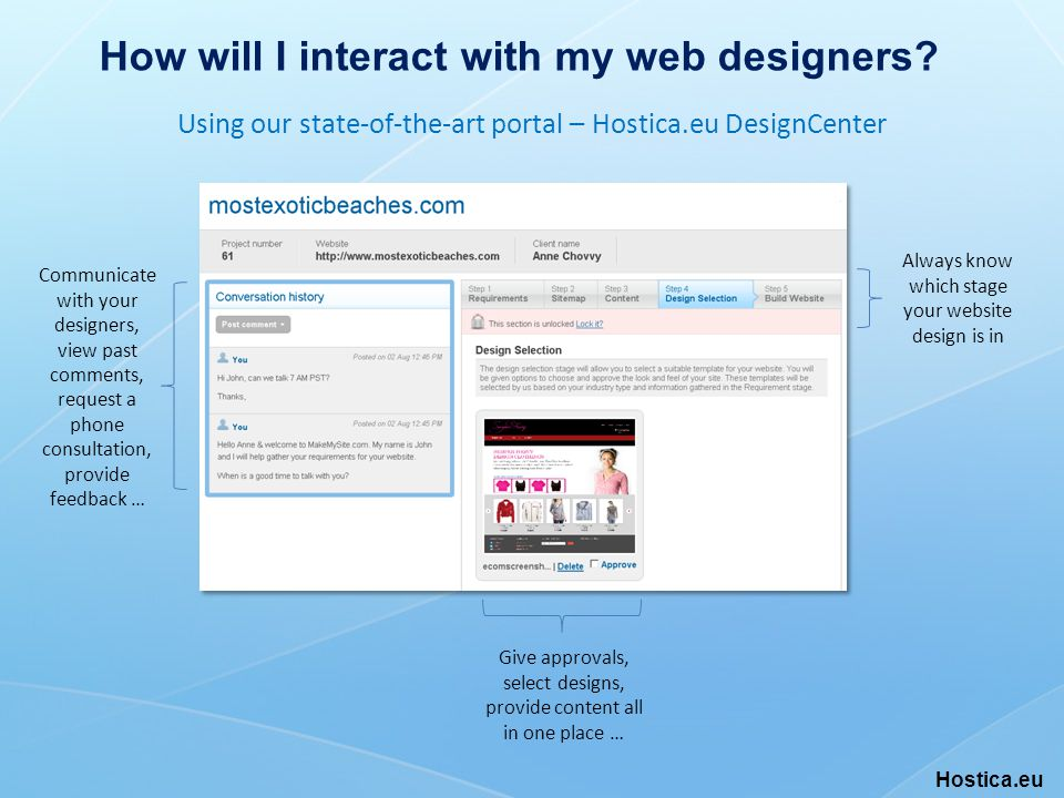 How will I interact with my web designers.