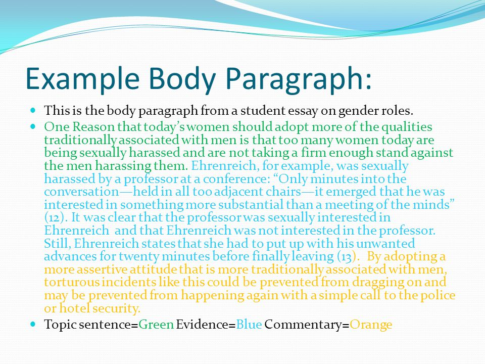 Example Body Paragraph: This is the body paragraph from a student essay on gender roles.