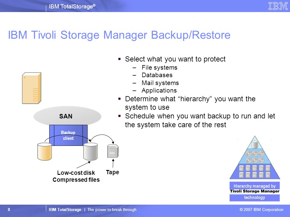 IBM TotalStorage ® IBM TotalStorage | The power to break through © 2007 IBM Corporation 8 IBM Tivoli Storage Manager Backup/Restore  Select what you want to protect –File systems –Databases –Mail systems –Applications  Determine what hierarchy you want the system to use  Schedule when you want backup to run and let the system take care of the rest Backup client SAN Low-cost disk Compressed files Tape