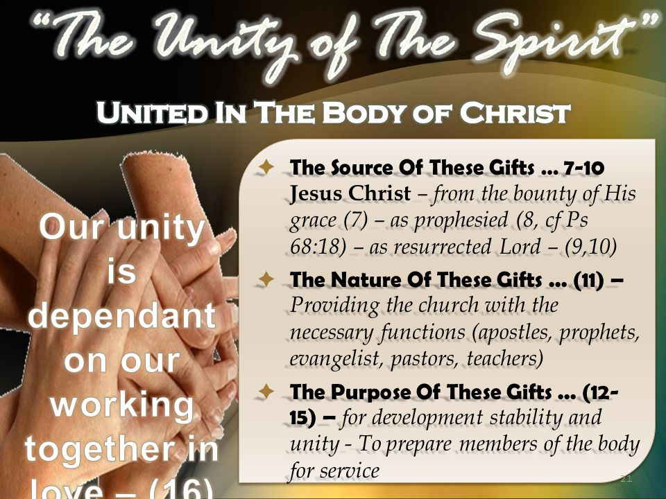  The Source Of These Gifts … 7-10 Jesus Christ – from the bounty of His grace (7) – as prophesied (8, cf Ps 68:18) – as resurrected Lord – (9,10)  The Nature Of These Gifts...