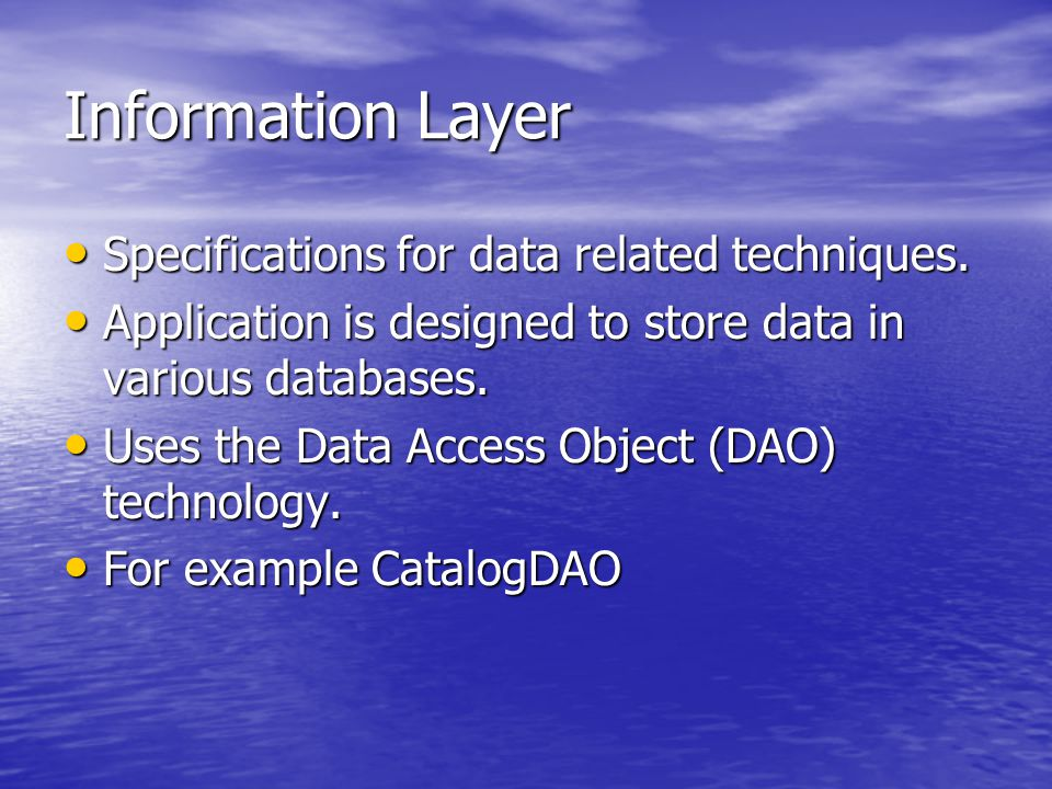 Information Layer Specifications for data related techniques.