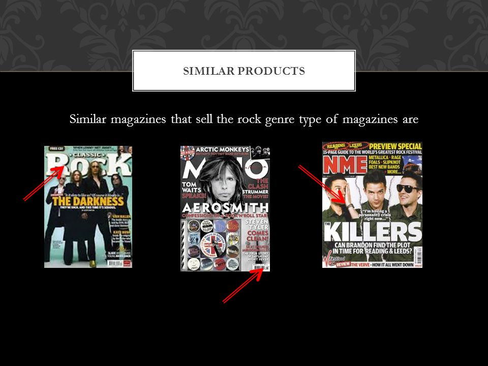 Similar magazines that sell the rock genre type of magazines are SIMILAR PRODUCTS