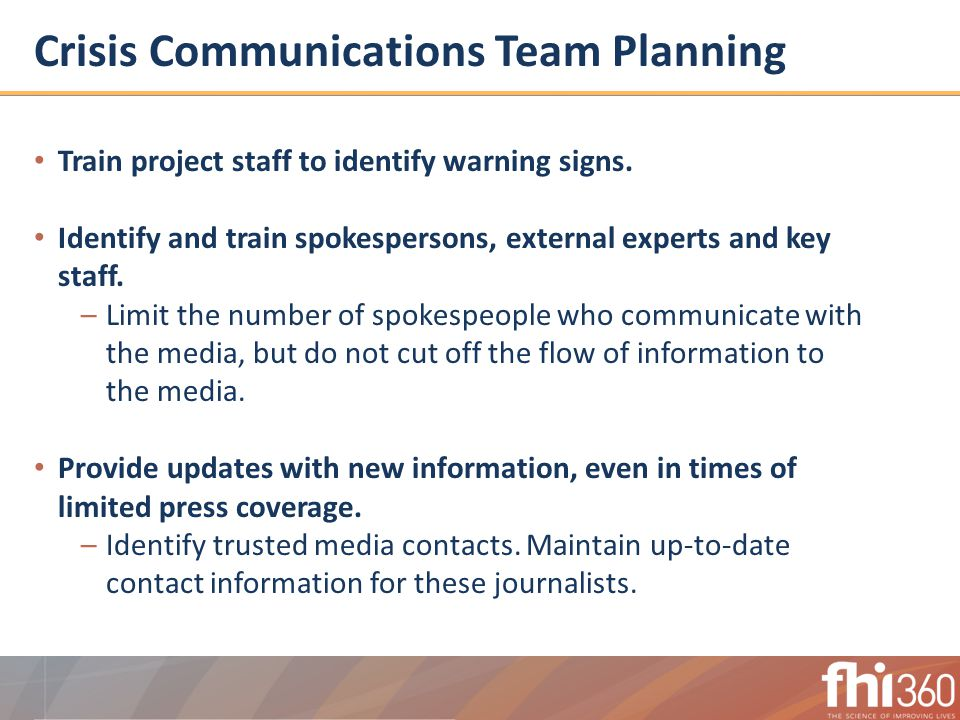 Crisis Communications Team Planning Train project staff to identify warning signs.
