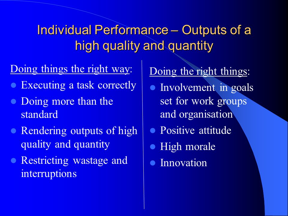 Individual Performance – Outputs of a high quality and quantity Doing things the right way: Executing a task correctly Doing more than the standard Rendering outputs of high quality and quantity Restricting wastage and interruptions Doing the right things: Involvement in goals set for work groups and organisation Positive attitude High morale Innovation