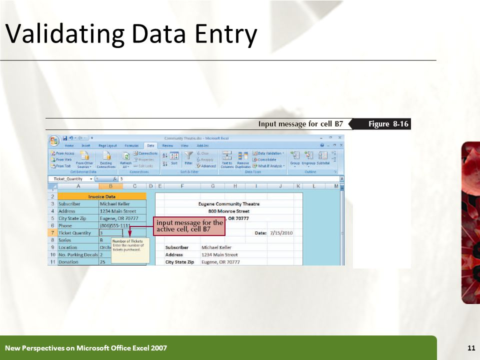 XP Validating Data Entry New Perspectives on Microsoft Office Excel