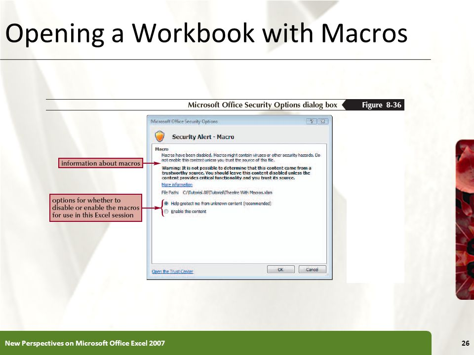 XP Opening a Workbook with Macros New Perspectives on Microsoft Office Excel