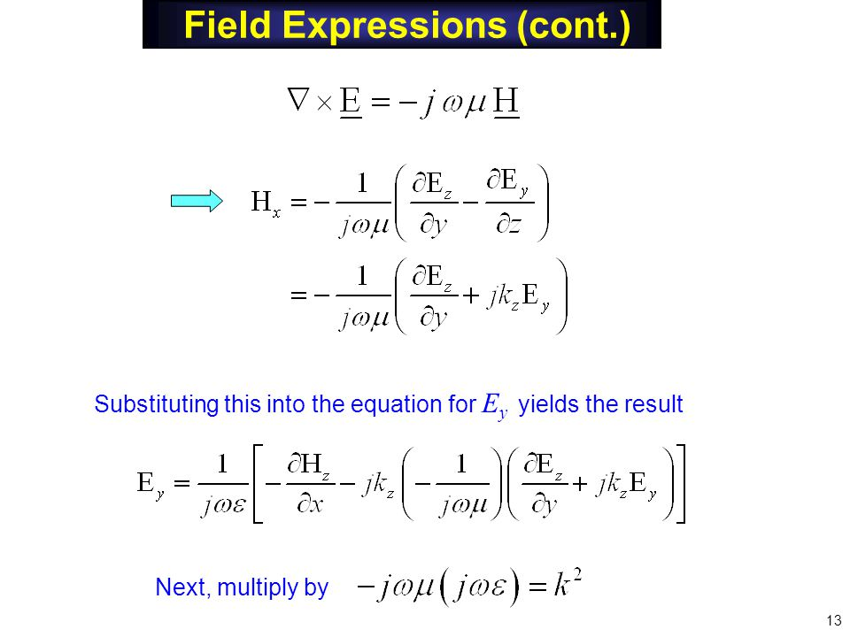 Field Expressions (cont.) Substituting this into the equation for E y yields the result Next, multiply by 13