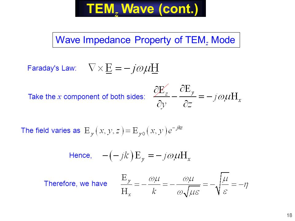 TEM z Wave (cont.) Wave Impedance Property of TEM z Mode Faraday s Law: Take the x component of both sides: The field varies as Hence, Therefore, we have 18