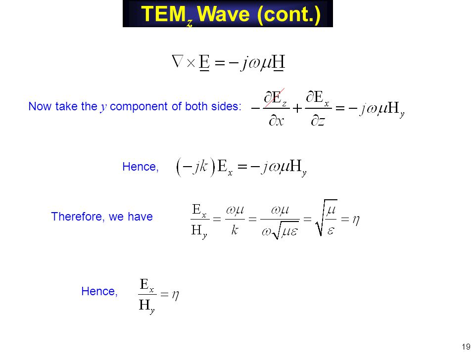 TEM z Wave (cont.) Now take the y component of both sides: Hence, Therefore, we have Hence, 19