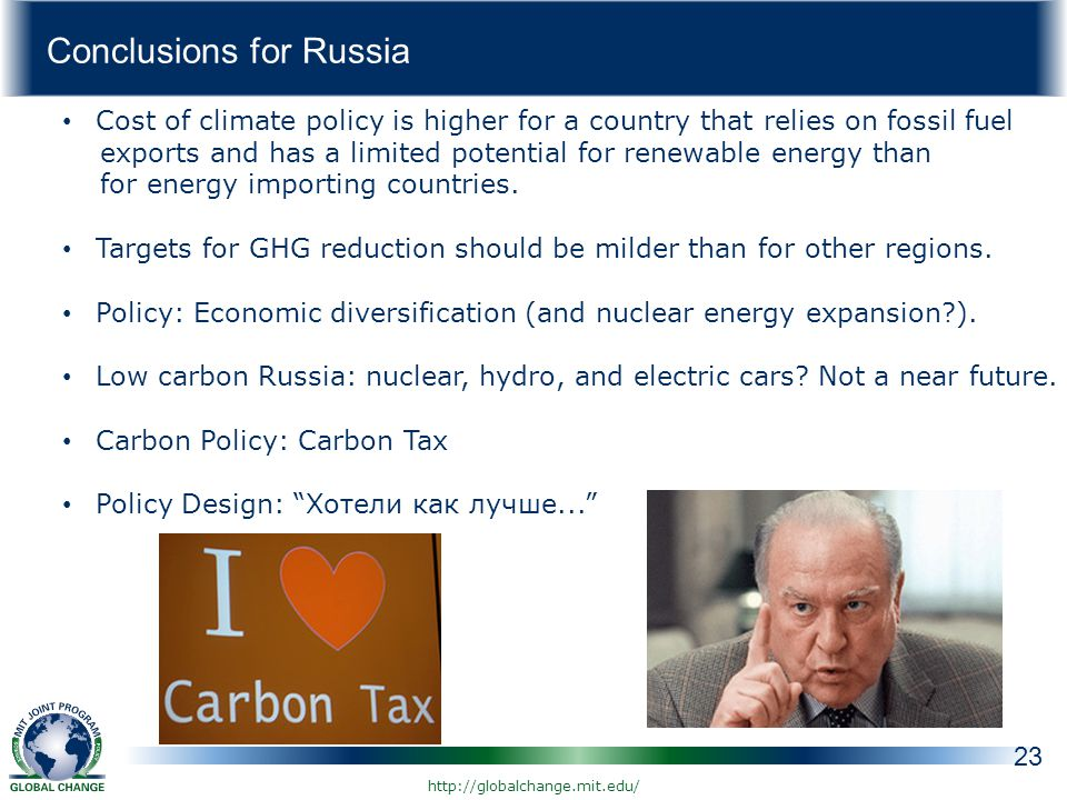 Conclusions for Russia 23 Cost of climate policy is higher for a country that relies on fossil fuel exports and has a limited potential for renewable energy than for energy importing countries.