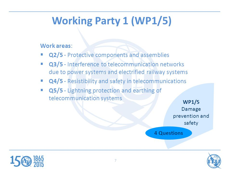 Working Party 1 (WP1/5) Work areas:  Q2/5 - Protective components and assemblies  Q3/5 - Interference to telecommunication networks due to power systems and electrified railway systems  Q4/5 - Resistibility and safety in telecommunications  Q5/5 - Lightning protection and earthing of telecommunication systems WP1/5 Damage prevention and safety 4 Questions 7