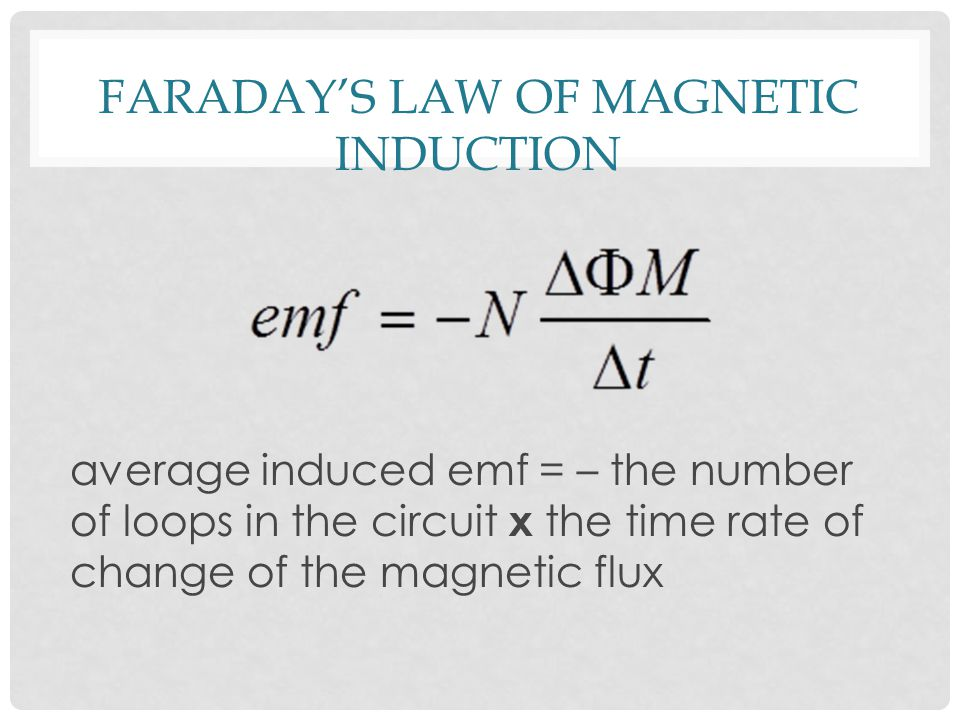 FARADAY'S LAW OF MAGNETIC INDUCTION average induced emf = – the number of loops in the circuit x the time rate of change of the magnetic flux