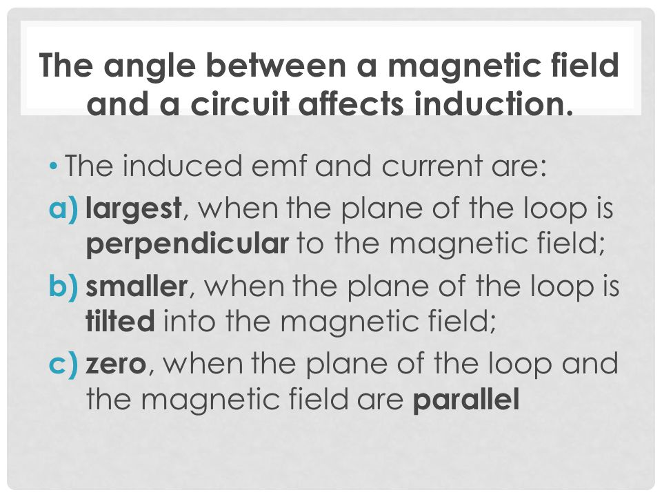 The angle between a magnetic field and a circuit affects induction.