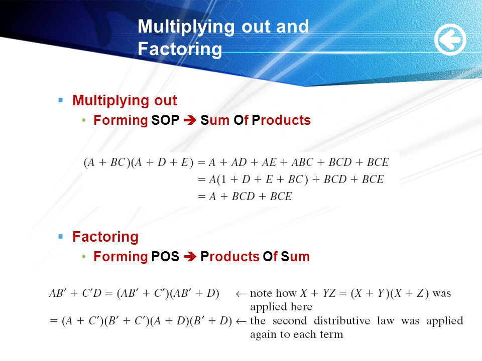 Multiplying out and Factoring  Multiplying out Forming SOP  Sum Of Products  Factoring Forming POS  Products Of Sum