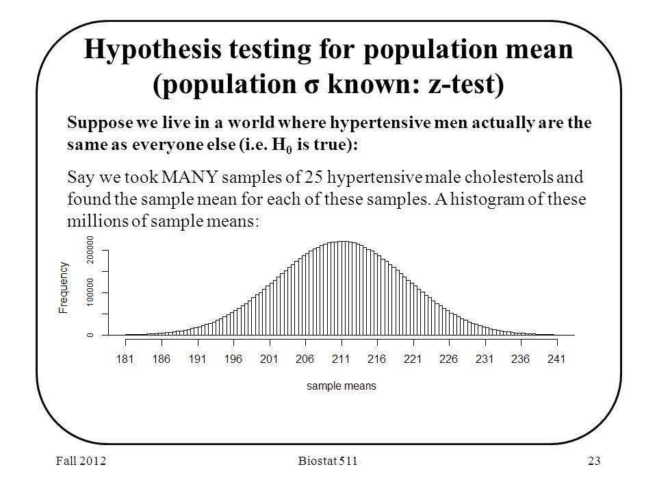 Fall 2012Biostat Hypothesis testing for population mean (population σ known: z-test) Suppose we live in a world where hypertensive men actually are the same as everyone else (i.e.