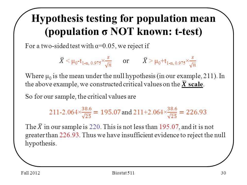Fall 2012Biostat Hypothesis testing for population mean (population σ NOT known: t-test)