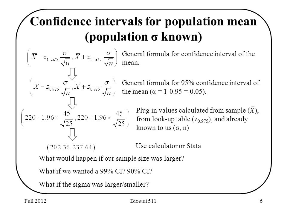 Fall 2012Biostat 5116 Confidence intervals for population mean (population σ known) What would happen if our sample size was larger.