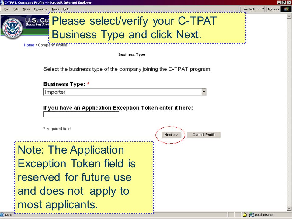 Please select/verify your C-TPAT Business Type and click Next.