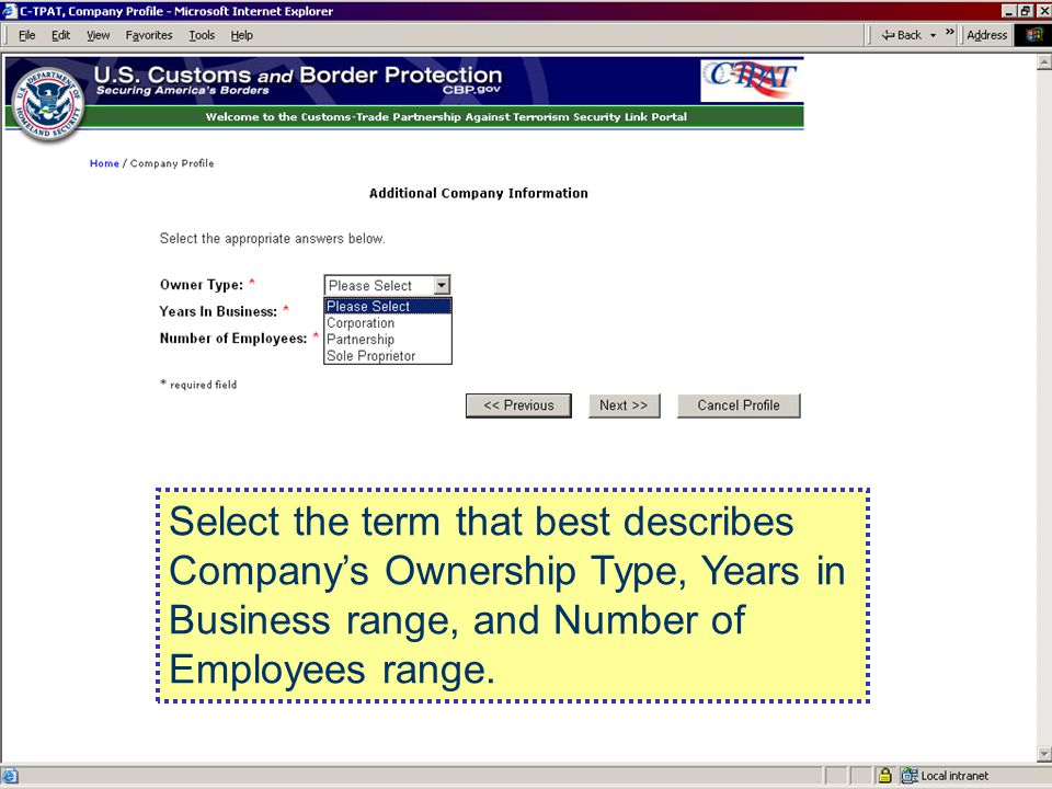 Select the term that best describes Company's Ownership Type, Years in Business range, and Number of Employees range.