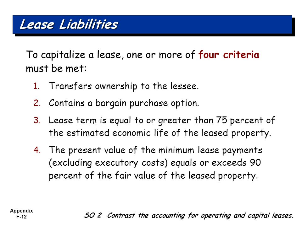 Appendix F-12 To capitalize a lease, one or more of four criteria must be met: 1.