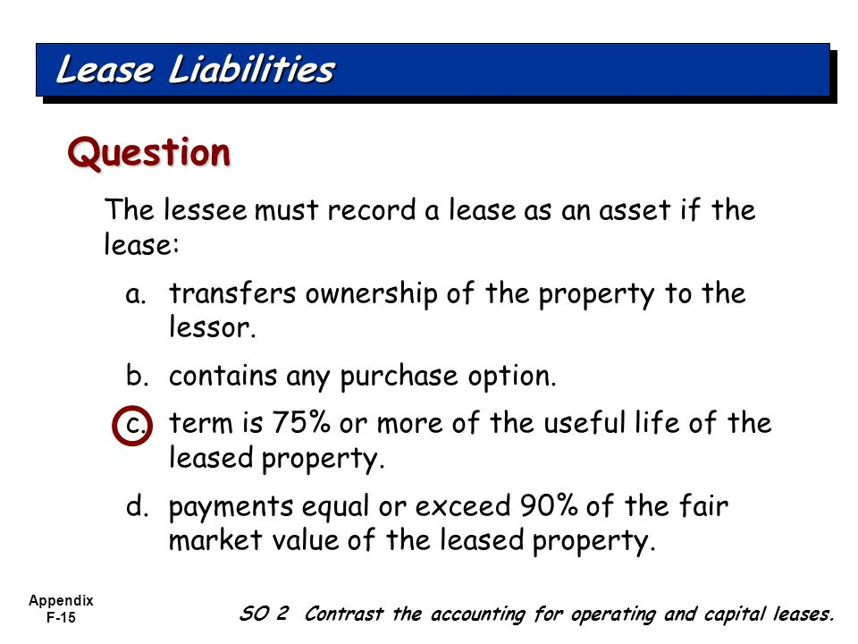 Appendix F-15 The lessee must record a lease as an asset if the lease: a.transfers ownership of the property to the lessor.