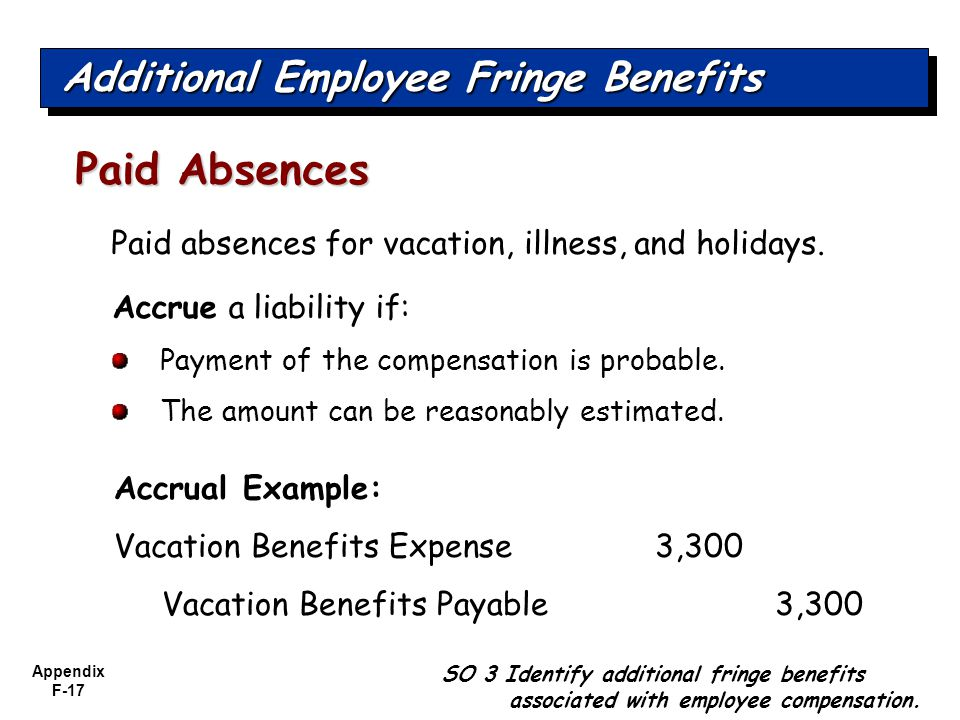 Appendix F-17 SO 3 Identify additional fringe benefits associated with employee compensation.