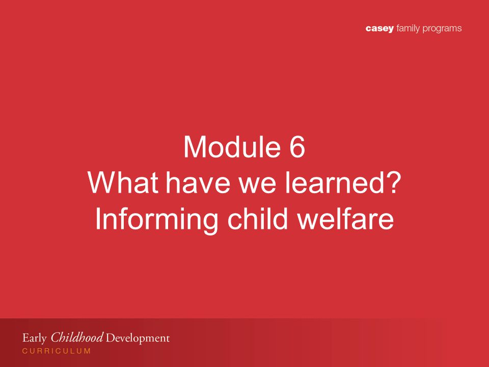 Module 6 What have we learned Informing child welfare