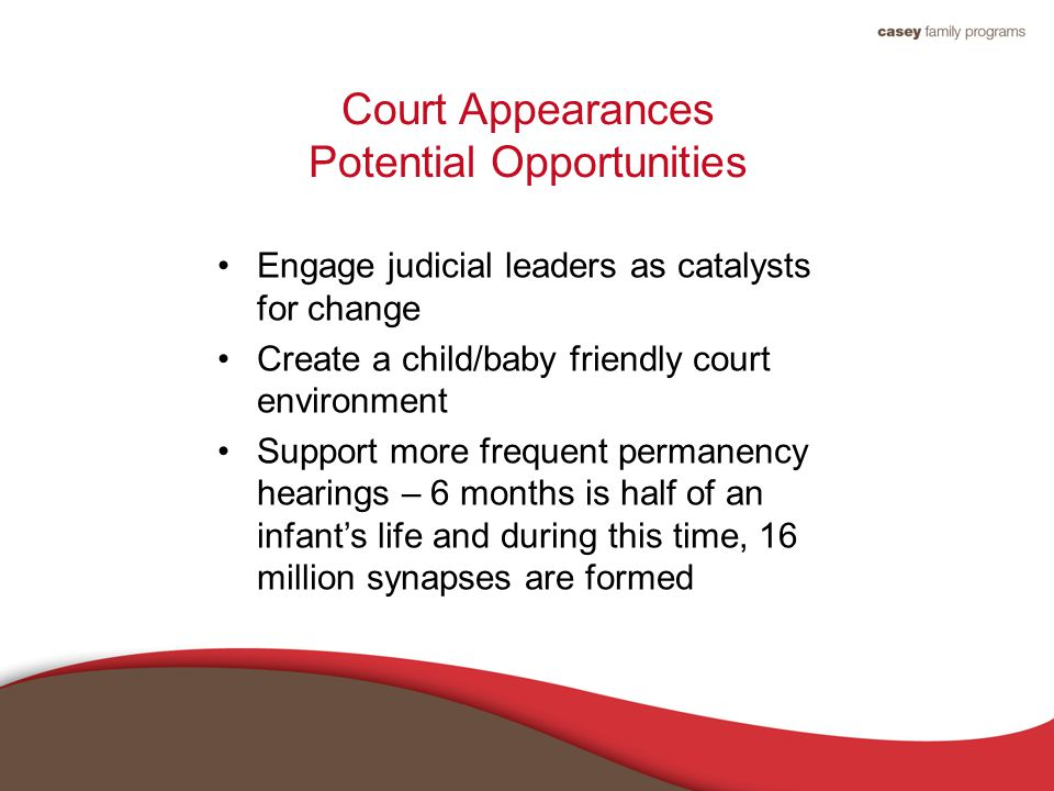 Court Appearances Potential Opportunities Engage judicial leaders as catalysts for change Create a child/baby friendly court environment Support more frequent permanency hearings – 6 months is half of an infant's life and during this time, 16 million synapses are formed