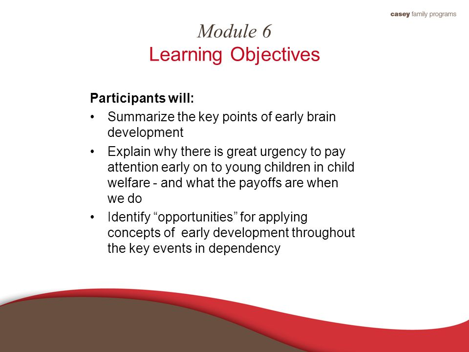 Module 6 Learning Objectives Participants will: Summarize the key points of early brain development Explain why there is great urgency to pay attention early on to young children in child welfare - and what the payoffs are when we do Identify opportunities for applying concepts of early development throughout the key events in dependency