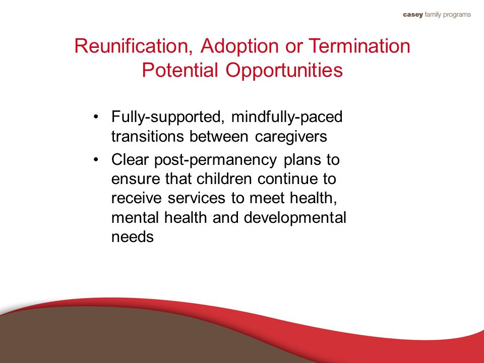 Reunification, Adoption or Termination Potential Opportunities Fully-supported, mindfully-paced transitions between caregivers Clear post-permanency plans to ensure that children continue to receive services to meet health, mental health and developmental needs
