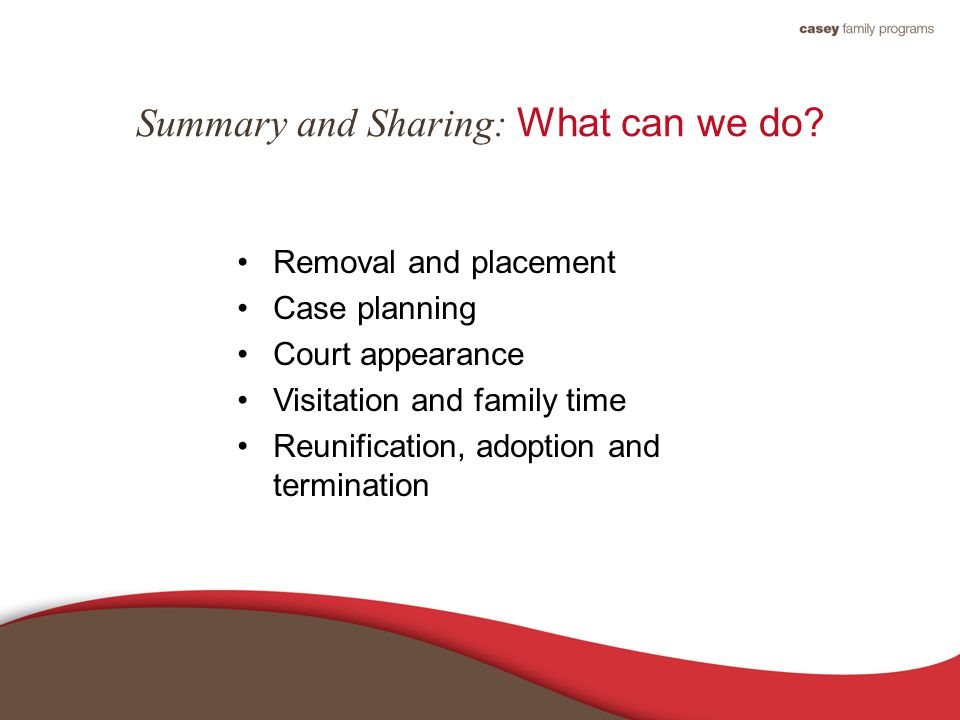 Summary and Sharing: What can we do.