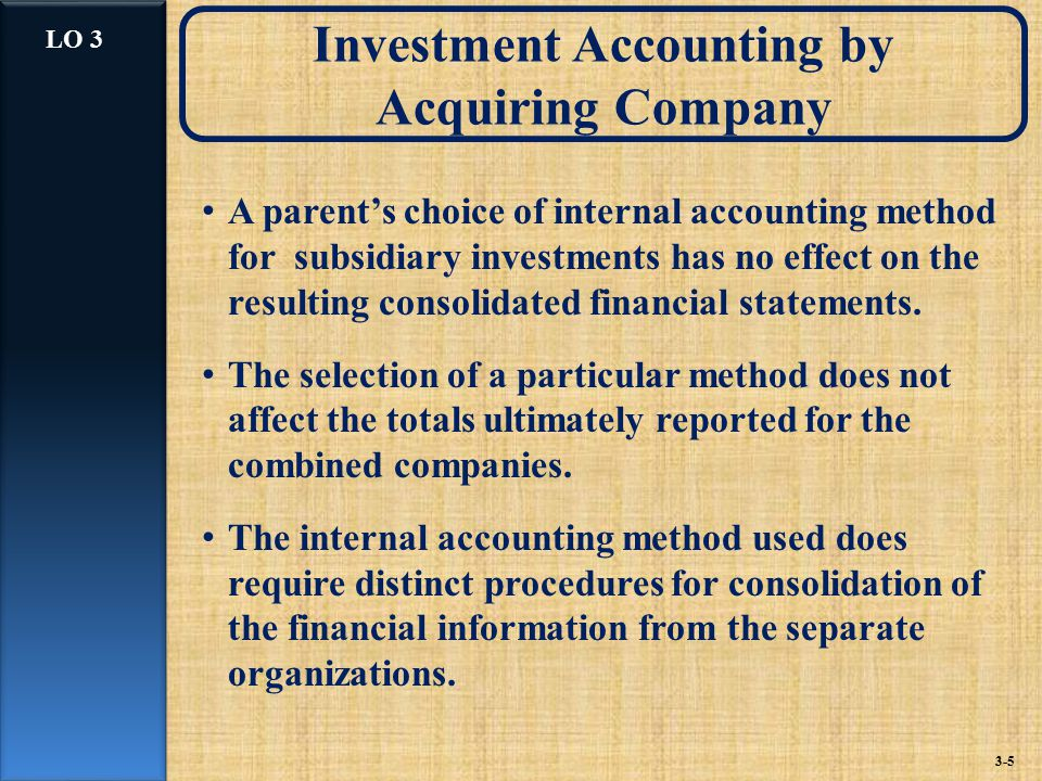 Investment Accounting by Acquiring Company A parent's choice of internal accounting method for subsidiary investments has no effect on the resulting consolidated financial statements.