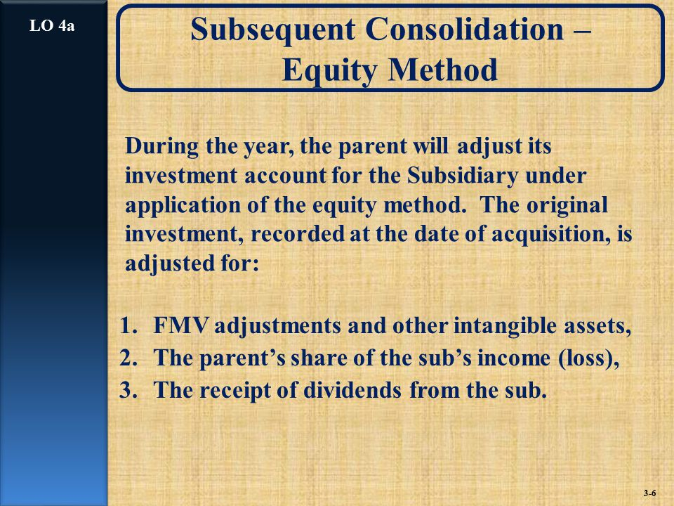 During the year, the parent will adjust its investment account for the Subsidiary under application of the equity method.