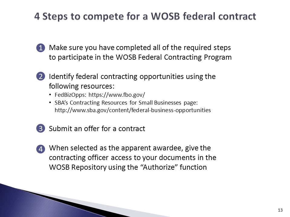 13 Make sure you have completed all of the required steps to participate in the WOSB Federal Contracting Program Identify federal contracting opportunities using the following resources: FedBizOpps:   SBA's Contracting Resources for Small Businesses page:   Submit an offer for a contract When selected as the apparent awardee, give the contracting officer access to your documents in the WOSB Repository using the Authorize function