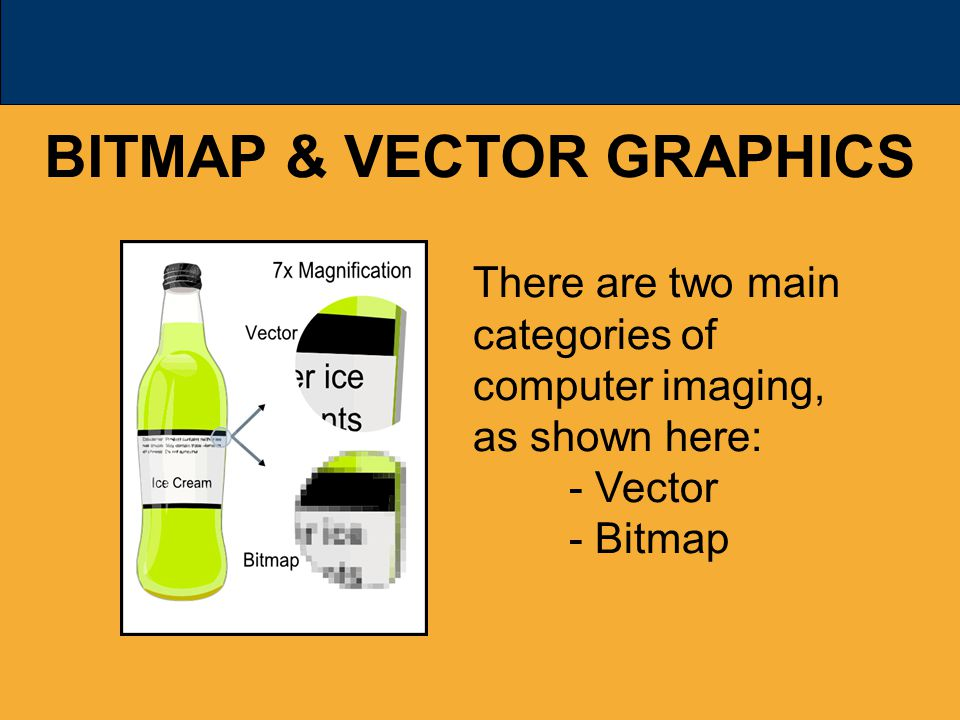 BITMAP & VECTOR GRAPHICS There are two main categories of computer imaging, as shown here: - Vector - Bitmap