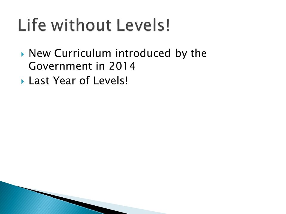  New Curriculum introduced by the Government in 2014  Last Year of Levels!