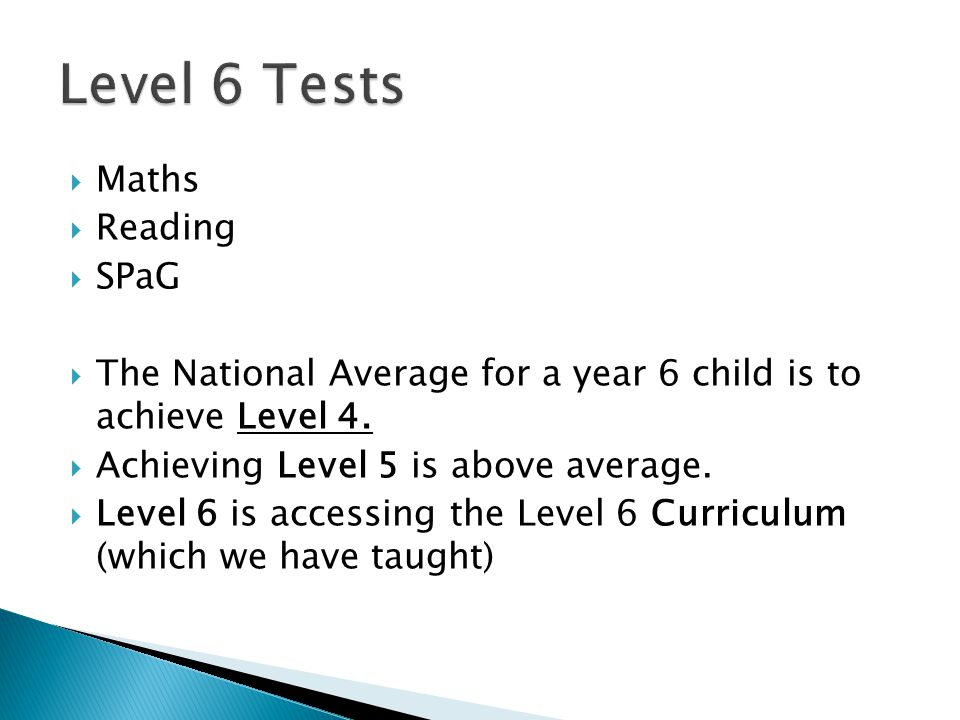  Maths  Reading  SPaG  The National Average for a year 6 child is to achieve Level 4.