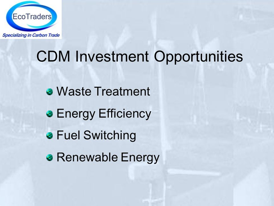 CDM Investment Opportunities Waste Treatment Energy Efficiency Fuel Switching Renewable Energy