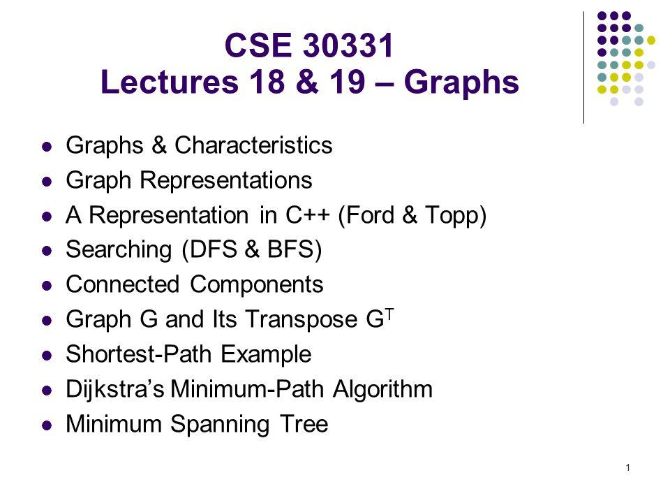 1 Graphs & Characteristics Graph Representations A