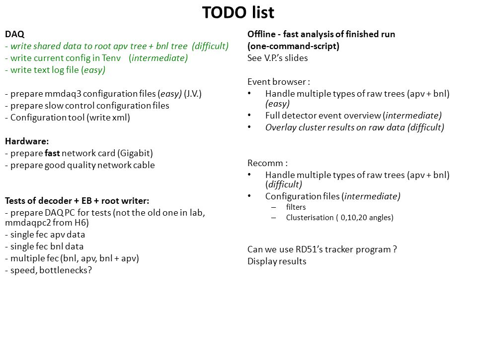 TODO list DAQ - write shared data to root apv tree + bnl tree (difficult) - write current config in Tenv (intermediate) - write text log file (easy) - prepare mmdaq3 configuration files (easy) (J.V.) - prepare slow control configuration files - Configuration tool (write xml) Hardware: - prepare fast network card (Gigabit) - prepare good quality network cable Tests of decoder + EB + root writer: - prepare DAQ PC for tests (not the old one in lab, mmdaqpc2 from H6) - single fec apv data - single fec bnl data - multiple fec (bnl, apv, bnl + apv) - speed, bottlenecks.