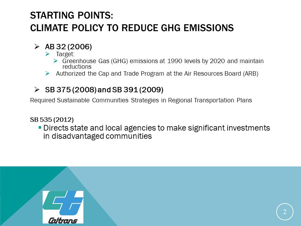 STARTING POINTS: CLIMATE POLICY TO REDUCE GHG EMISSIONS  AB 32 (2006)  Target:  Greenhouse Gas (GHG) emissions at 1990 levels by 2020 and maintain reductions  Authorized the Cap and Trade Program at the Air Resources Board (ARB)  SB 375 (2008) and SB 391 (2009) Required Sustainable Communities Strategies in Regional Transportation Plans SB 535 (2012)  Directs state and local agencies to make significant investments in disadvantaged communities 2