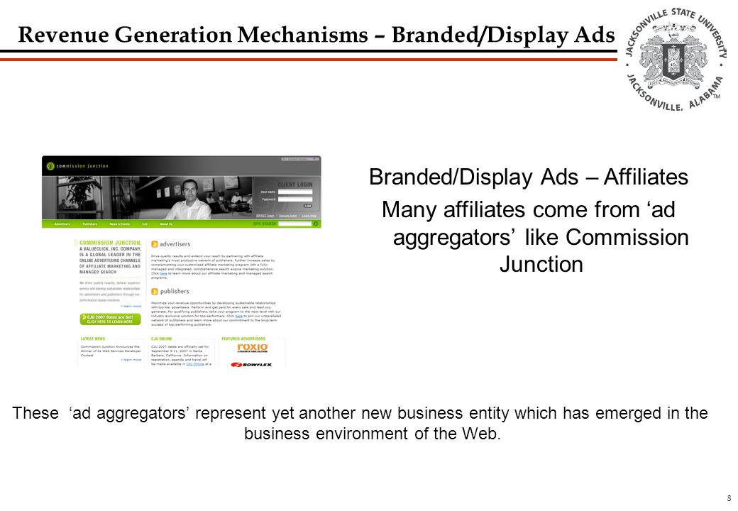 8 Branded/Display Ads – Affiliates Many affiliates come from 'ad aggregators' like Commission Junction These 'ad aggregators' represent yet another new business entity which has emerged in the business environment of the Web.