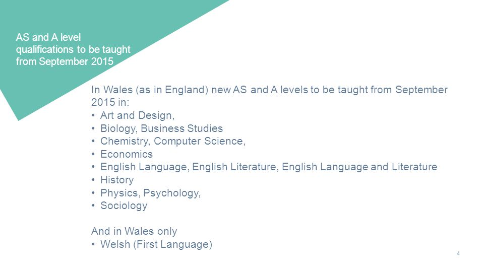 4 AS and A level qualifications to be taught from September 2015 In Wales (as in England) new AS and A levels to be taught from September 2015 in: Art and Design, Biology, Business Studies Chemistry, Computer Science, Economics English Language, English Literature, English Language and Literature History Physics, Psychology, Sociology And in Wales only Welsh (First Language)