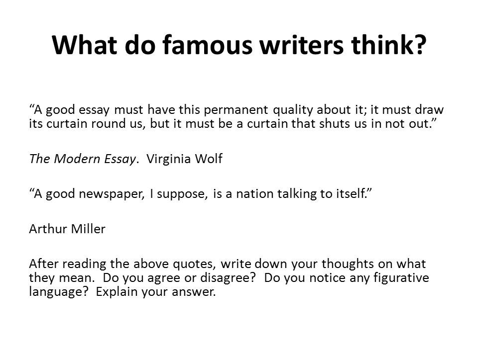 What do famous writers think.